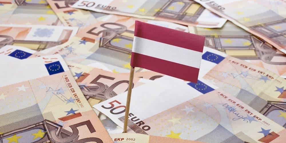 oostenrijkse vlag op 50 euro biljetten